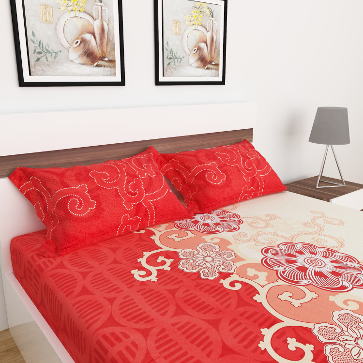 Carnival Printed 3-Pc. Queen Size Fitted Bed Sheet Set- 150 X 195 cm