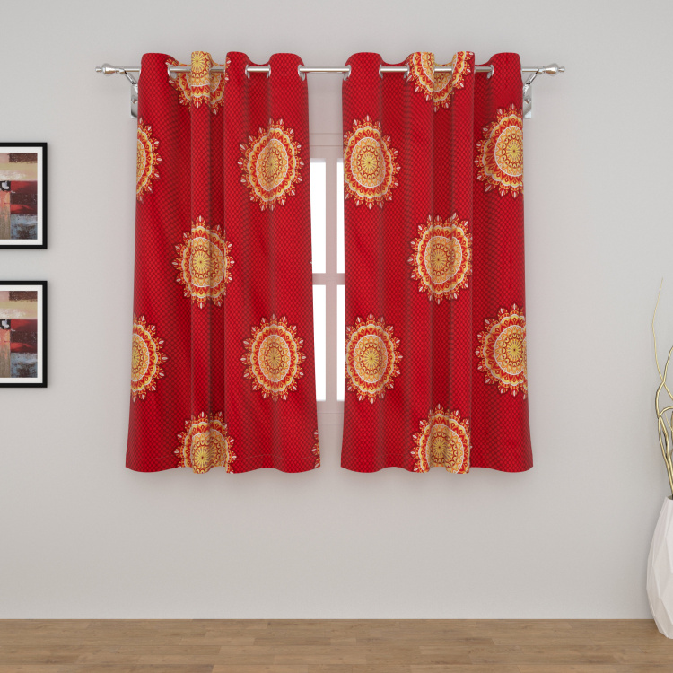 Elle Raja Rani Printed Semi-Blackout Window Curtain Pair- 135 X 160 cm