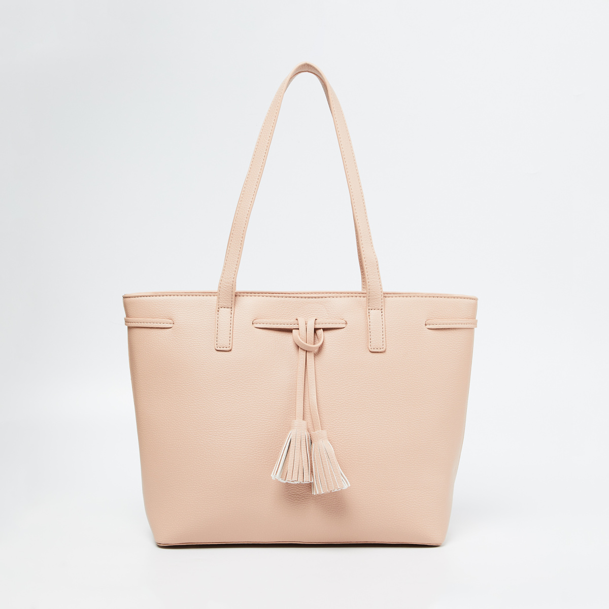 CODE Textured Tote Bag with Tassels