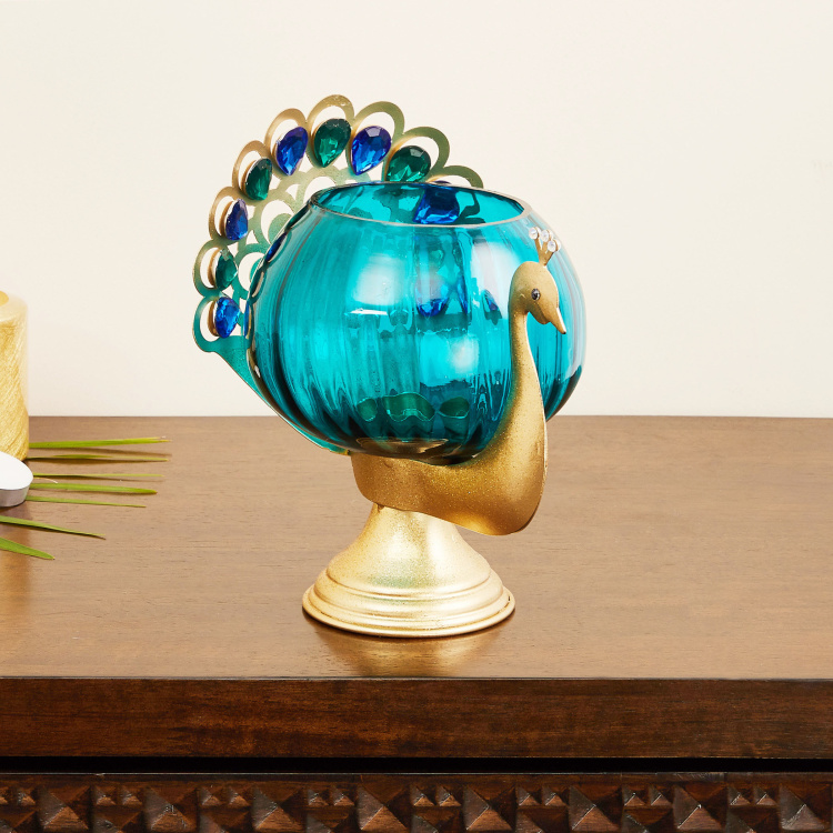 Mayur Zahi Peacock-Shaped Votive Holder