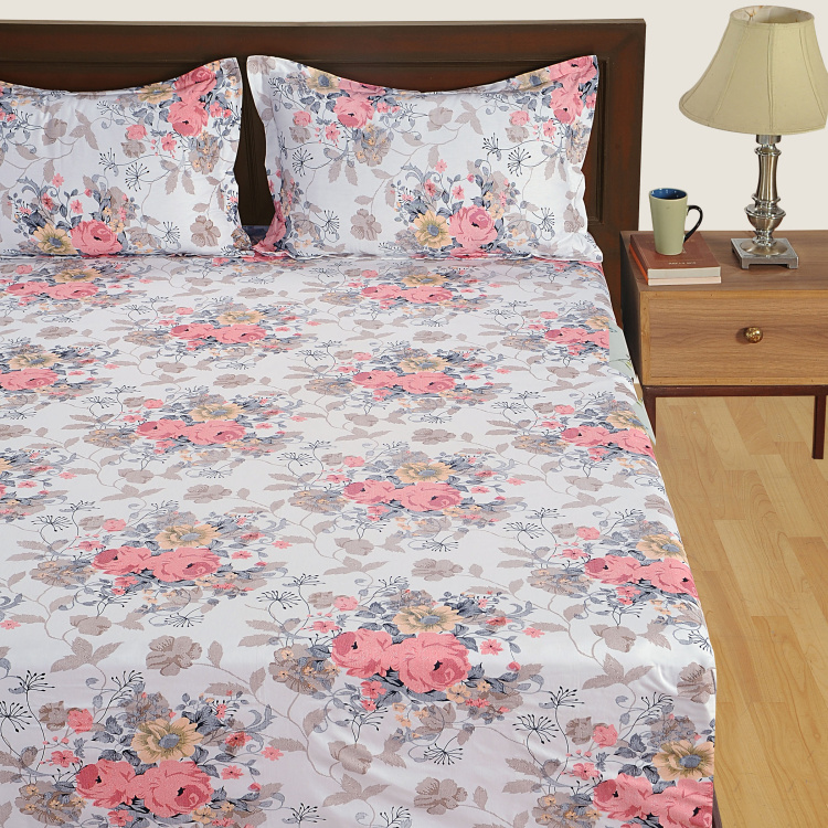 SWAYAM 4-Piece Floral Print Double Bedding Set - 228 x 274 cm