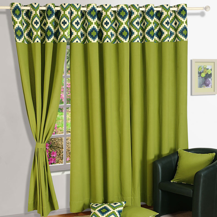 SWAYAM Geometric Print Detail Semi-Blackout Door Curtain- 137 X 228 cm