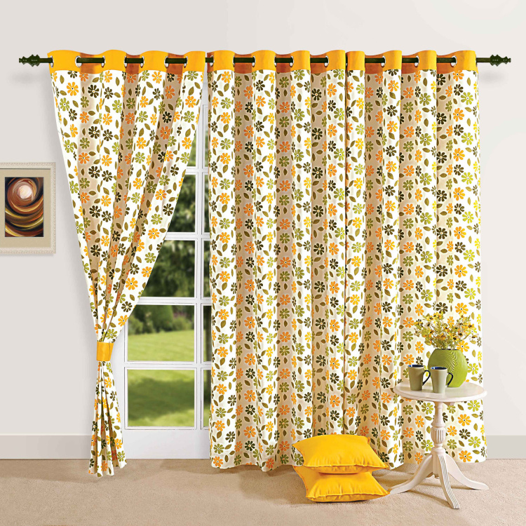 SWAYAM Floral Print Semi-Blackout Door Curtain- 137 X 228 cm