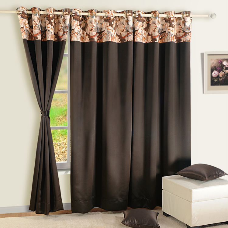 SWAYAM Printed Detail Blackout Long Door Curtain - 121 X 274 cm