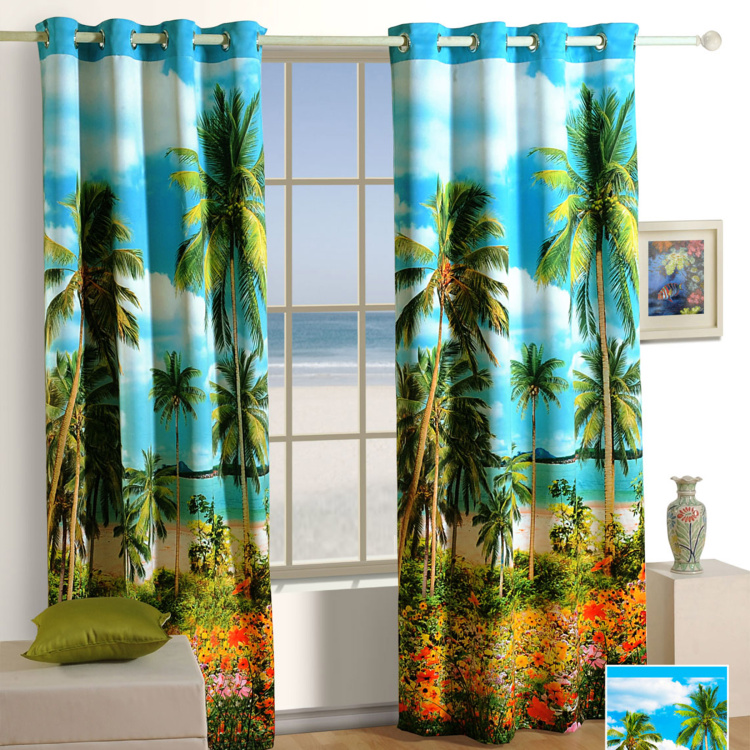 SWAYAM Printed Blackout Window Curtain - 121 X 152 cm