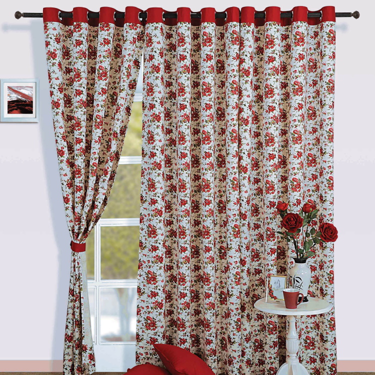 SWAYAM Floral Print Semi-Blackout Window Curtain- 137 X 152 cm