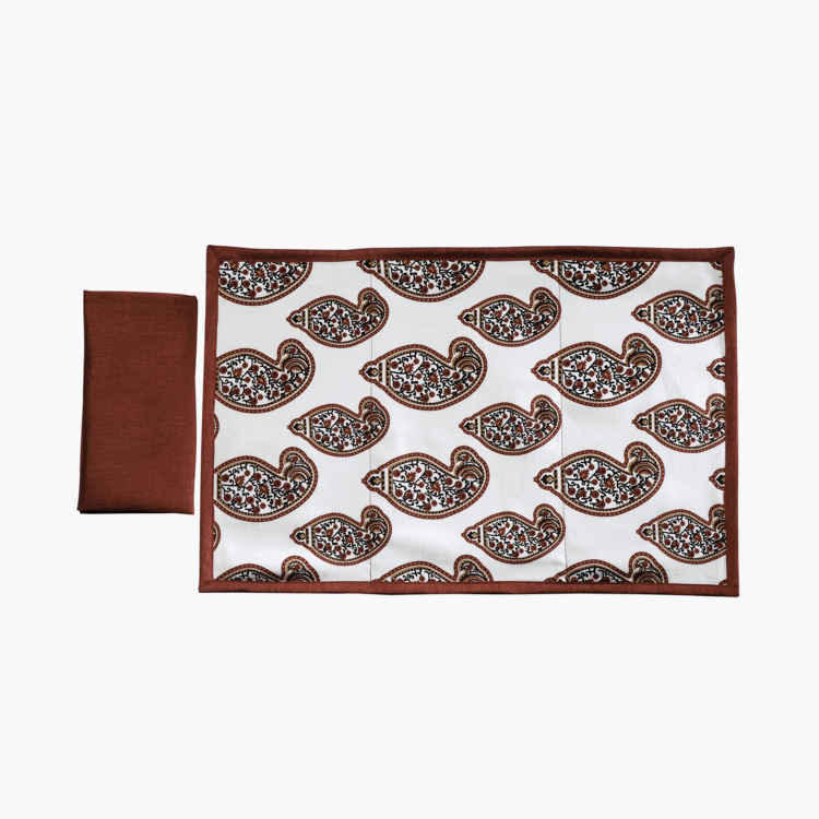 SWAYAM Paisley Print Placemats And Napkins - Set of 8