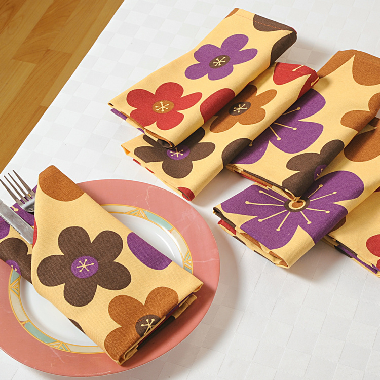 SWAYAM Floral Print Dinner Napkins - Set of 6