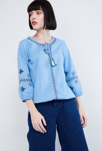 MAX Embroidered Blouson Top with Tasselled Tie-Up