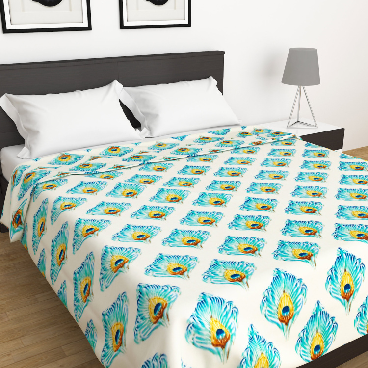 Moksha Feather Print Double Bed Blanket- 200 X 240 cm