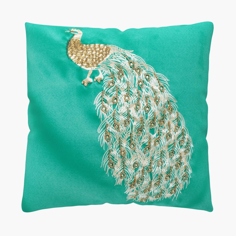 Moksha Peacock Embellished Cushion Cover - Set of 2 - 40 X 40 Cms